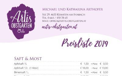 Preisliste 2019